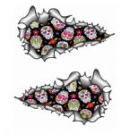 Long Pair Ripped Torn Metal Design With Mexican Sugar Skull Repeat Pattern Motif External Vinyl Car Sticker 200x115mm each